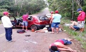 Carro capota e deixa cinco pessoas feridas na MS-427