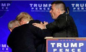 Trump é retirado às pressas de palco durante discurso