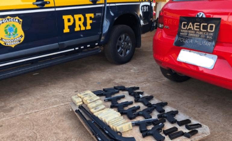 PRF e Gaeco apreendem em MS armamento que seria levado para MG