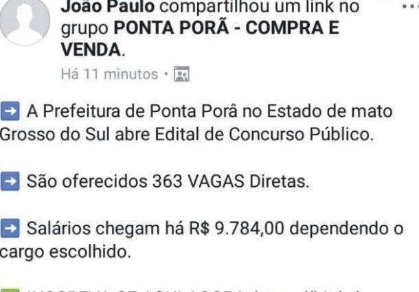 Golpistas anunciam concurso inexistente da prefeitura de Ponta Porã