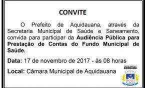 Secretaria de Saúde de Aquidauana realiza audiência pública nesta sexta
