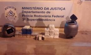 Caminhoneiro é preso com 43 kg de cocaína dentro de botijões de gás em Ponta Porã