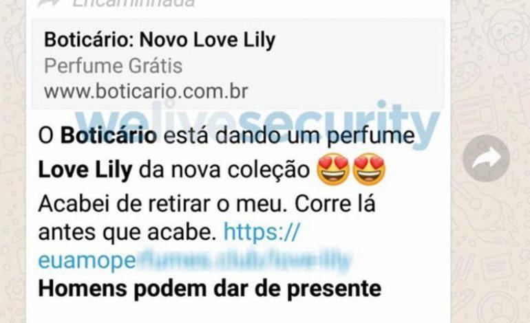 Golpe no WhatsApp: promessa de perfumes do Boticário é falsa