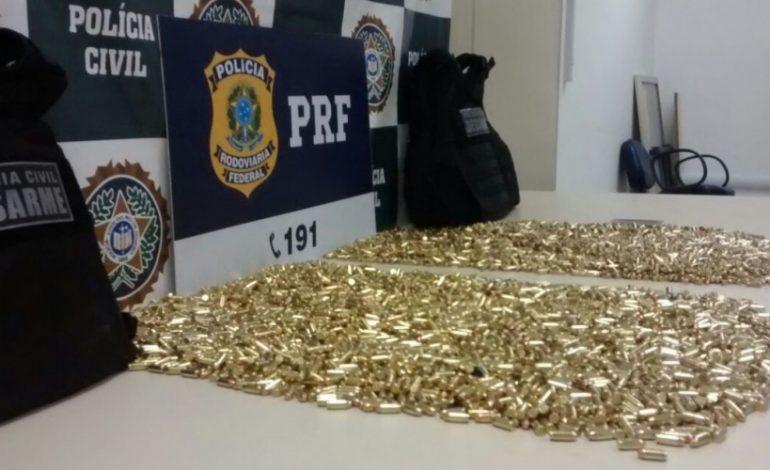 Dupla é presa ao levar 7 mil munições de MS para RJ