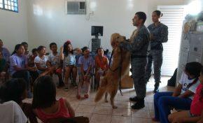 Em palestra para crianças, Canil da Rotai mostra atuação dos cães policiais no combate ao tráfico