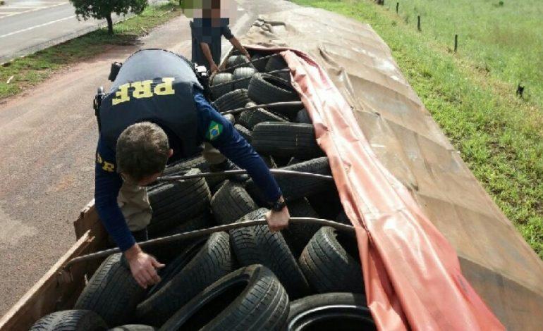 PRF apreende carga com 2 mil pneus contrabandeados